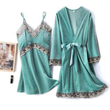 Golden Velvet Floral Print 2 Pieces Sleepwear Set/Free Shipping