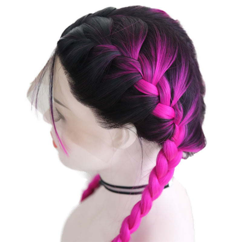 New Wig Fashion Middle Score Long Straight Rose Red Hair Multicolor Optional Braided Wig/Free Shipping