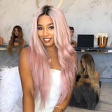 Women Ombre Wavy Pink Lace Fornt Wig For Wedding