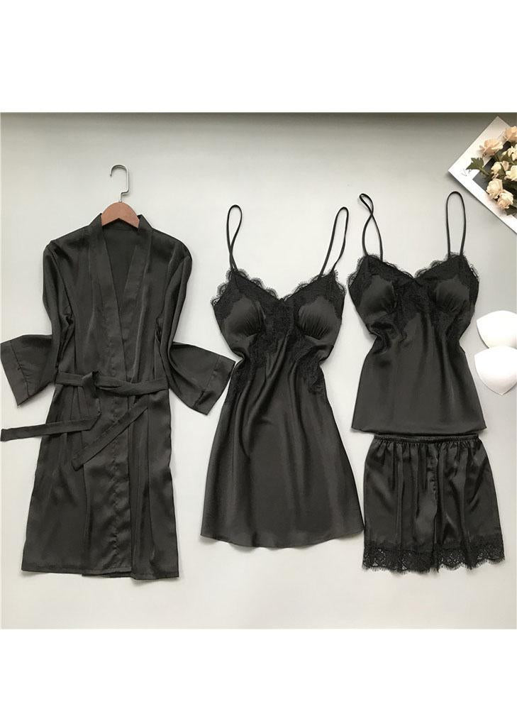 Long Sleeves Satin Mesh Lace Lingerie Sleepwear Set 4 Pieces/Free Shipping