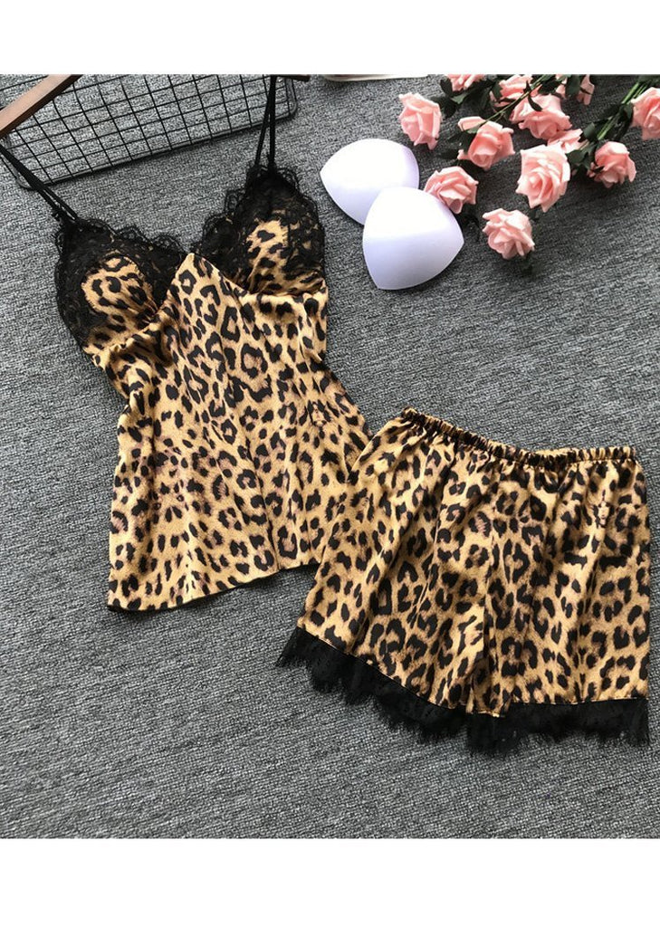 Leopard Printed Lace Trim Halter Push Up Sleepwear/Free Shipping