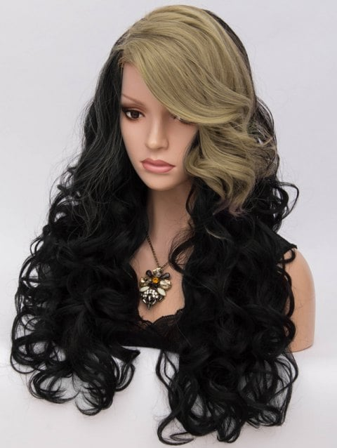 Long Inclined Bang Two Tone Loose Wave Party Synthetic Wig/Free Shipping