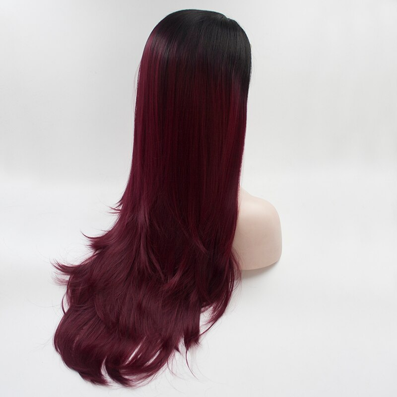 Fantasy Beauty Ombre Dark Red Long Straight Wig Synthetic Lace Wigs for Black Women/Free Shipping