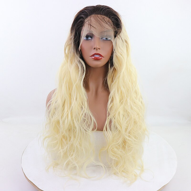 Natural Hairline With Baby Hair 26 High Temperature Fiber Long Water Wave Dark Black 613 Ombre Blonde Synthetic Lace Front Wig/Free Shipping
