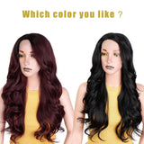 Ombre Dark Red Long Wavy Wig Perucas front lace Hair for Black Women/Free Shipping