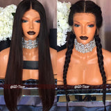 Center Parting Long Straight Party Synthetic Fiber Lace Front Wig - Black 24inch