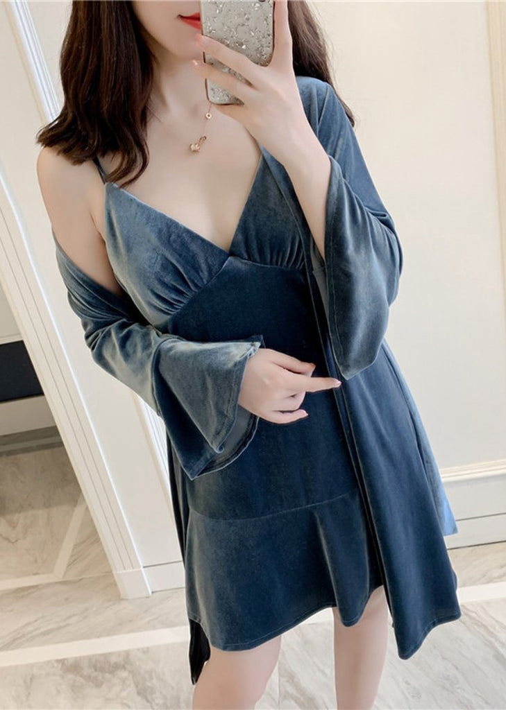 Womens Pleuche Flare Sleeve Knit Robe and Chemise Sleeveless Set 2 Pieces/Free Shipping