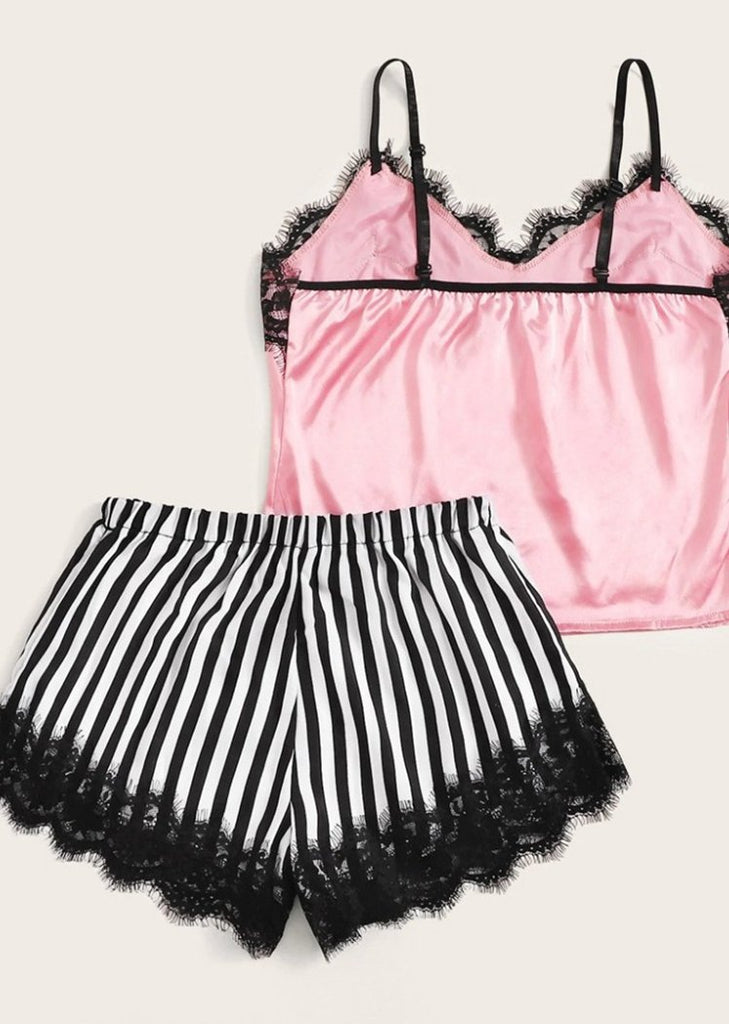 Eyelash Lace Camisole Stripes Pants Lingerie Underwear Two Piece Cami Set/Free Shipping