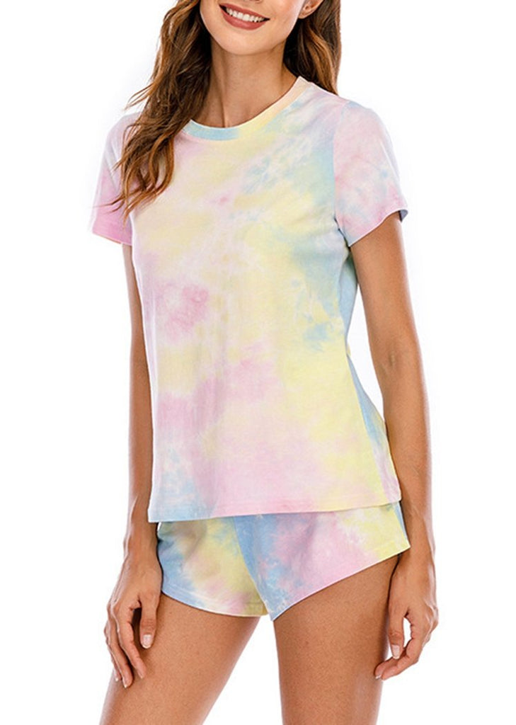 Tie Dye Round Neck Short Sleeve Pajamas Set/Free Shipping