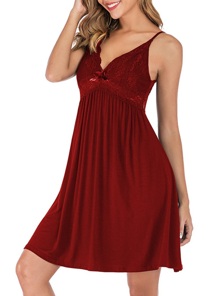 Deep V-neck Lace Trim Backless Halter Night Dress/Free Shipping