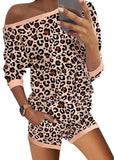 Womens Printed Long Sleeve  Off Shoulder Pajamas Set/Free Shipping
