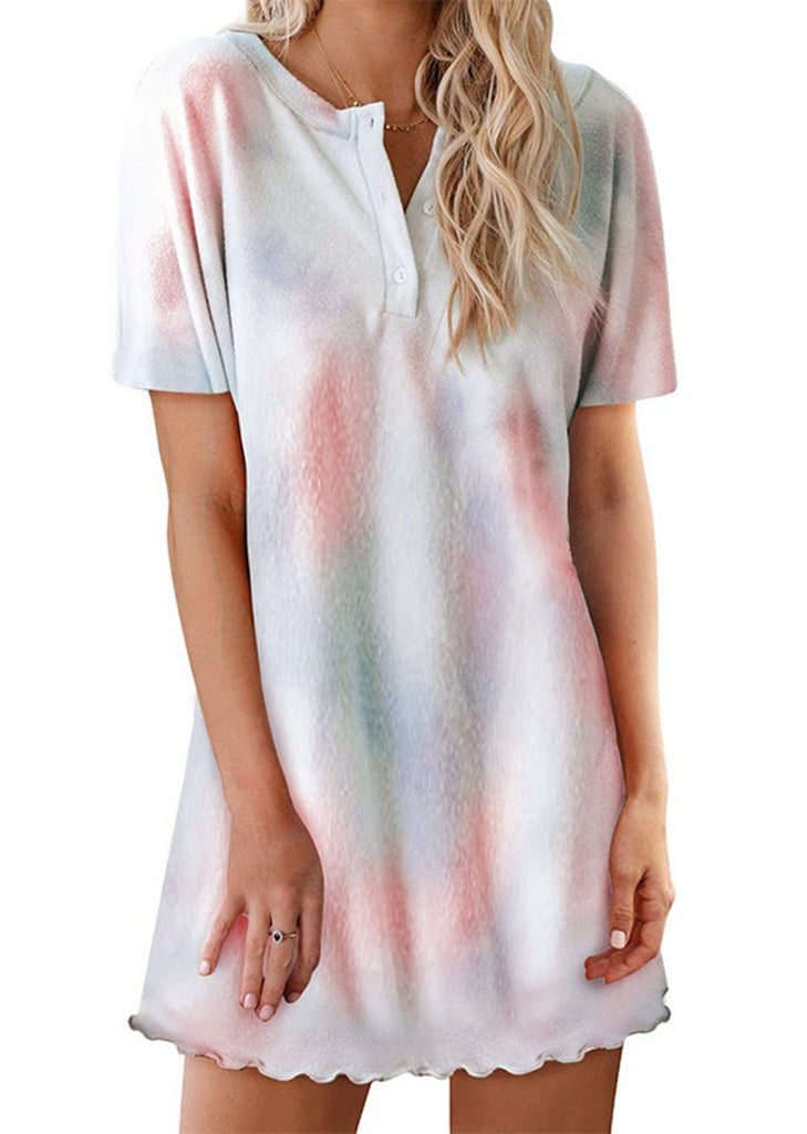 Tie Dye Button Up Ruffled Short Sleeve Dress/Free Shipping
