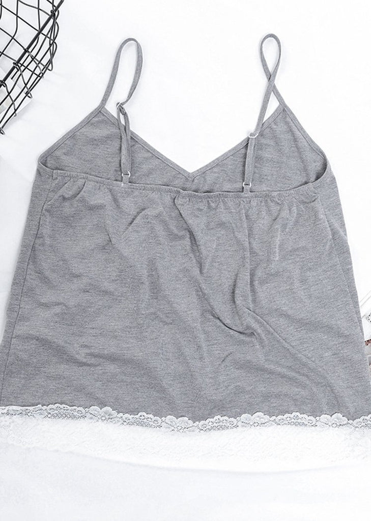 Women Casual Lace Trim Camisole Pajamas Set/Free Shipping