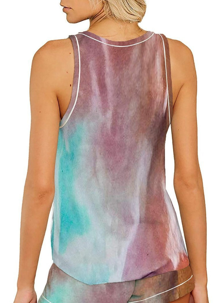Women's Tie Dye  Buttons Sleeveless Pajamas Set/Free Shipping