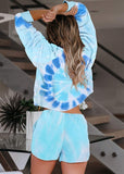 Tie Dye Off Shoulder Long Sleeve Tops and Shorts Pajamas Set/Free Shipping