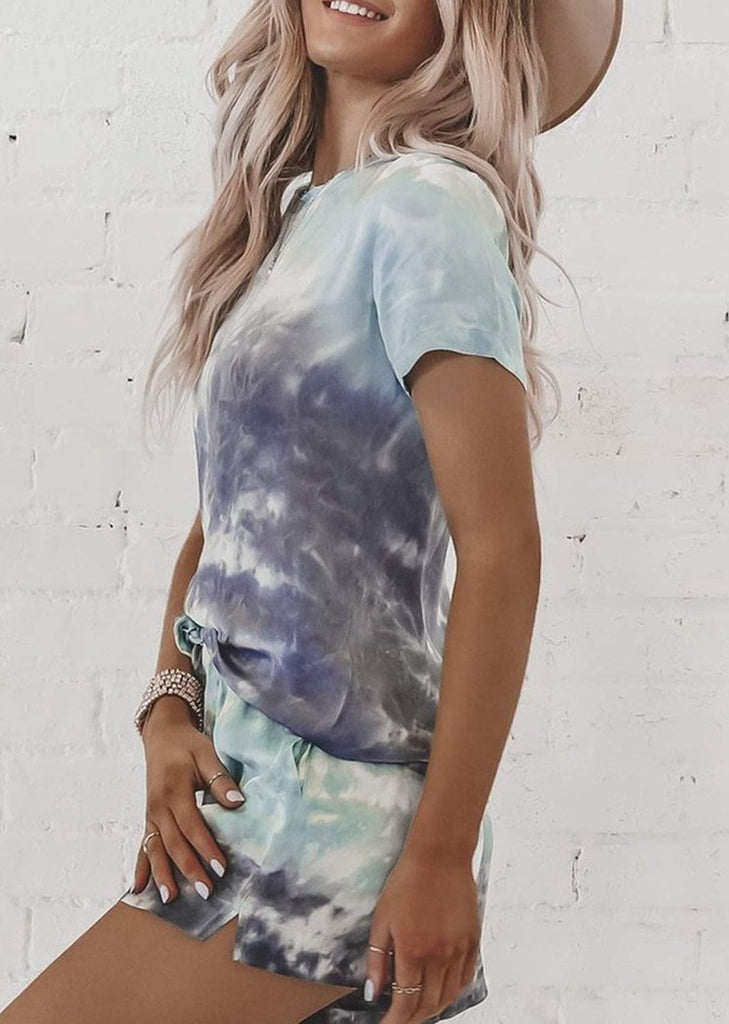 Tie Dye Round Neck Short Sleeve Tops and Shorts Pajamas Set/Free Shipping