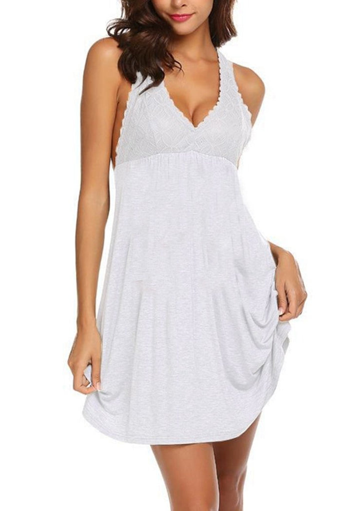 Solid Color Lace Trim V-neck Backless Slip Nightdress/Free Shipping