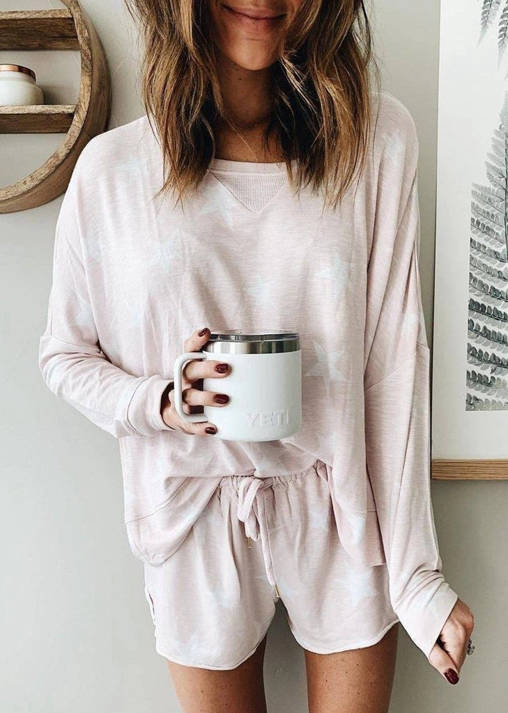 Round Neck Long Sleeve Tops And Elastic Strappy Shorts Pajamas Set/Free Shipping
