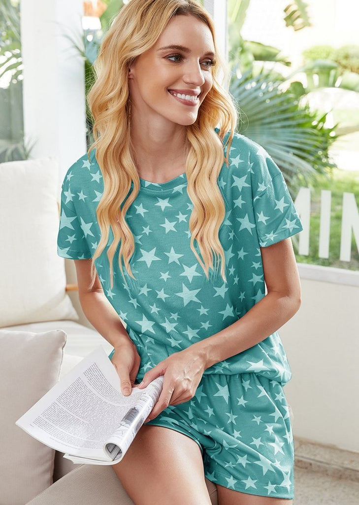 Star Print Short Sleeve Top & Shorts Pajamas Set/Free Shipping