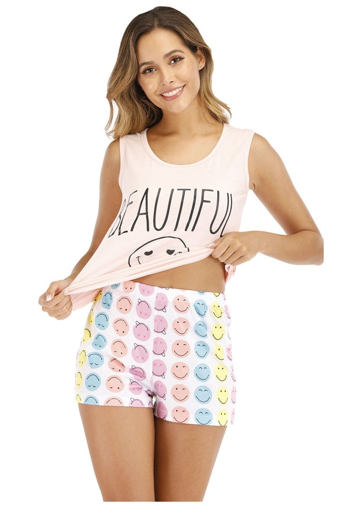 Cartoon Smiley Letter Pattern Tank & Short Pajama Sets/Free Shipping