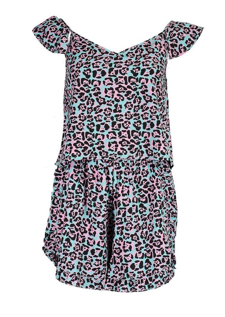 Leopard Printed Flounce Sleeve Backless Tank & Short Pajama Sets/Free Shipping