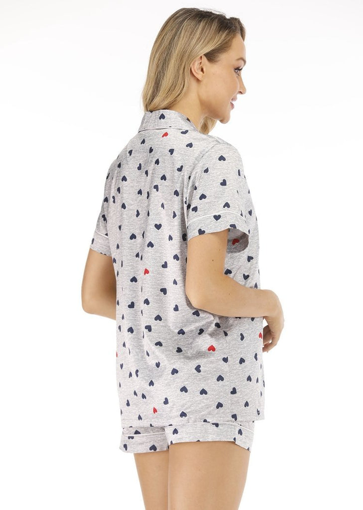 Polka Dots Satin Short Sleeve Button Down Top & Short Pajamas Set/Free Shipping