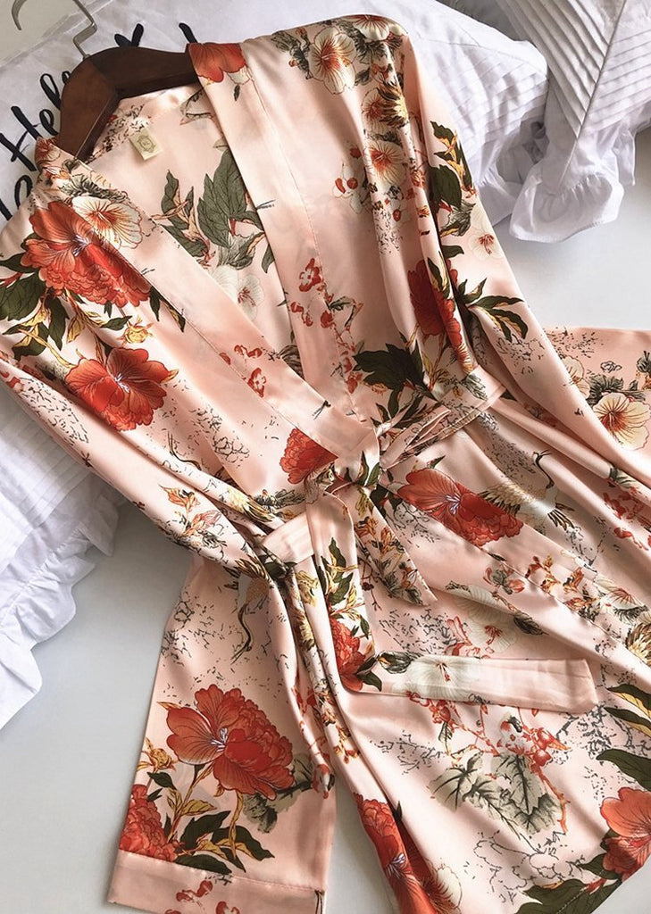 Silk Floral Printed Lingerie Sleepwear 3 Piece Set/Free Shipping