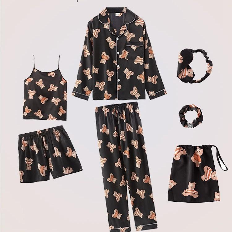 Lace Silk Pajamas Cartoon Print 7 Pieces Sleepwear Sets/Free Shipping