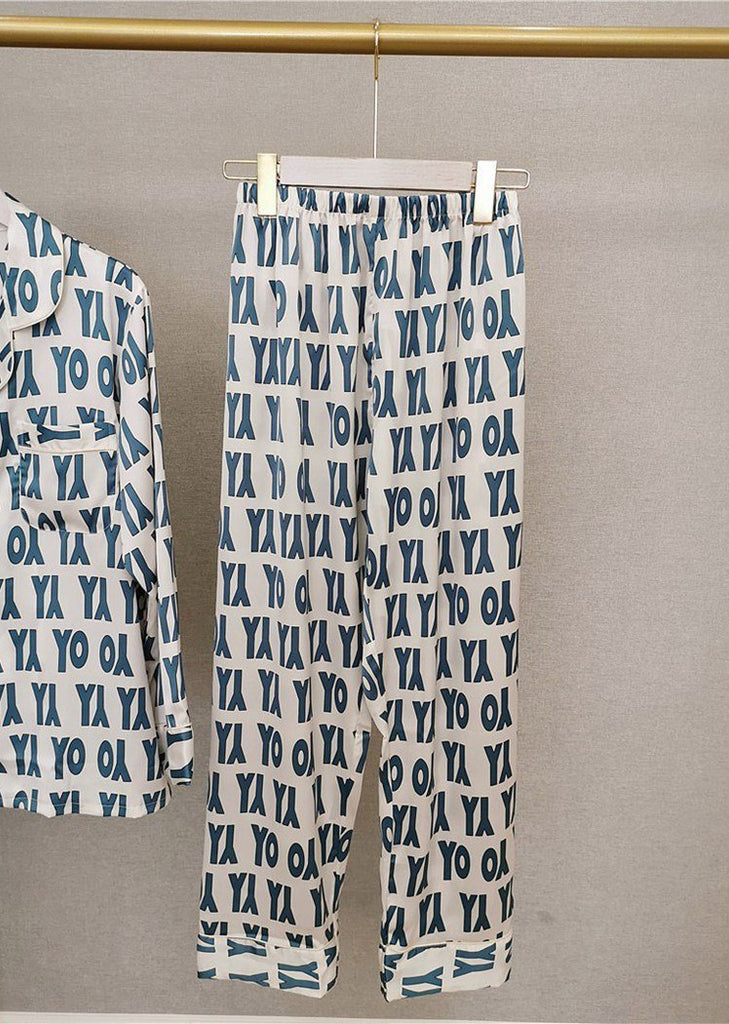 Letter Printed Satin Long Sleeve Button Down PJ Set Sleepwear Set 2 Pieces/Free Shipping