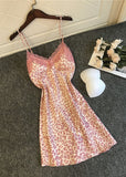 Pink Leopard Printed Lace Trim Satin V Neck Spaghetti Straps Night Dress/Free Shipping