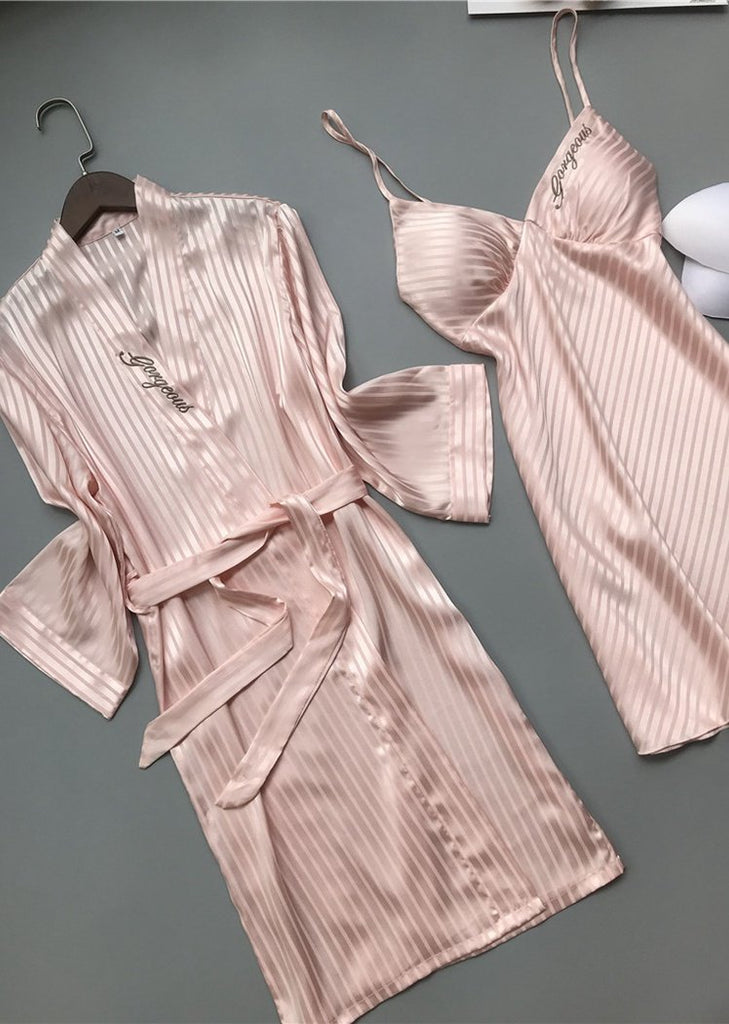 Womens Embroidery Satin Long Sleeve Knit Robe and Camisole Dress Set 2 Pieces/Free Shipping