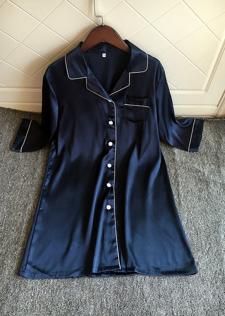 Long Sleeve Nightshirt Satin Sleepshirt Button Front Night Dress With Pocket Front/Free Shipping