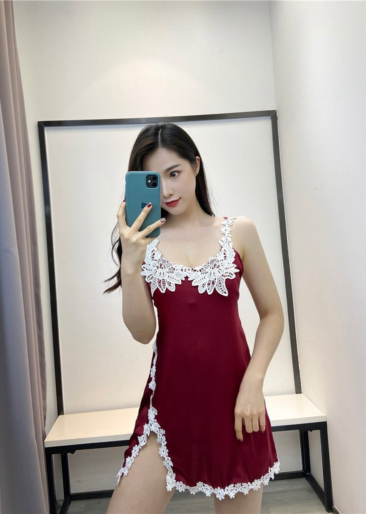 Lace Trim Side Split Satin Scoop Neck Criss Cross Straps Camisole Dress/Free Shipping
