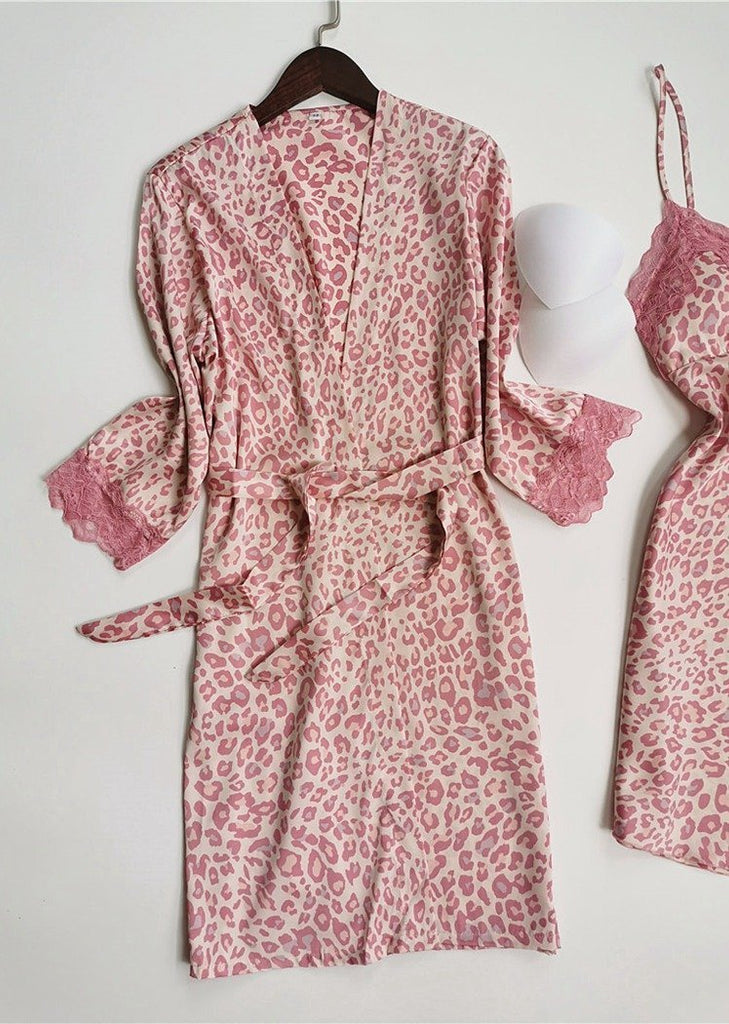 Womens Pink Leopard Printed Satin Long Sleeve Knit Robe and Chemise Sleeveless Set 2 Pieces/Free Shipping