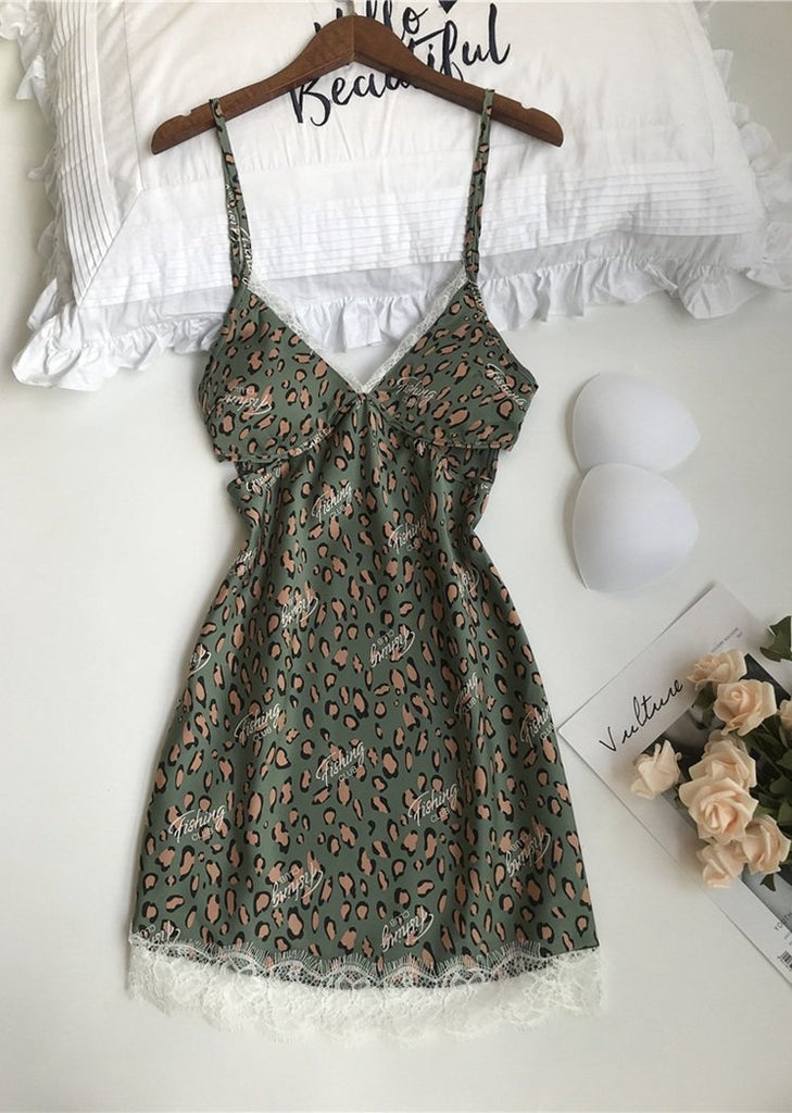 Green Leopard Printed Lace Trim Satin V Neck Spaghetti Straps Night Dress/Free Shipping