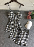 Houndstooth Printed Satin V Neck Spaghetti Straps Camisole Set For Women/Free Shipping