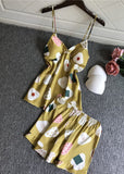 Womens Cartoon Pattern Satin V Neck Spaghetti Straps Camisole Set/Free Shipping