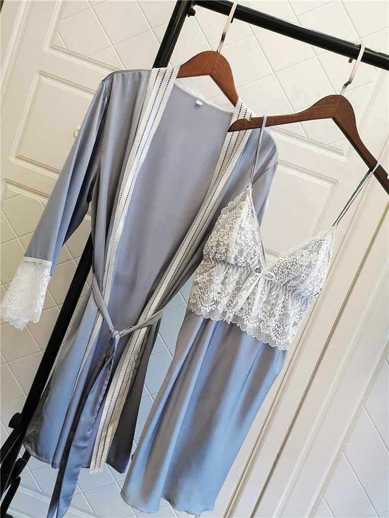 Solid Lace Trim Satin V Neck Spaghetti Straps 5 Pieces Sleepwear Set/Free Shipping