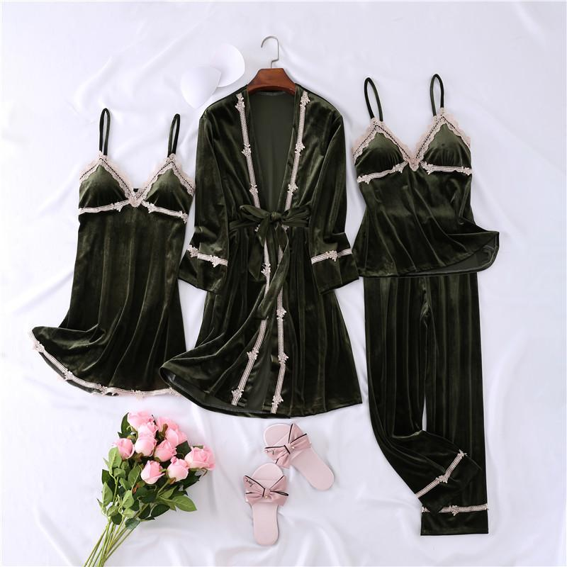 Womens Solid Pleuche Long Sleeve Pajamas Lace Trim 4 Pieces Sleepwear Sets/Free Shipping