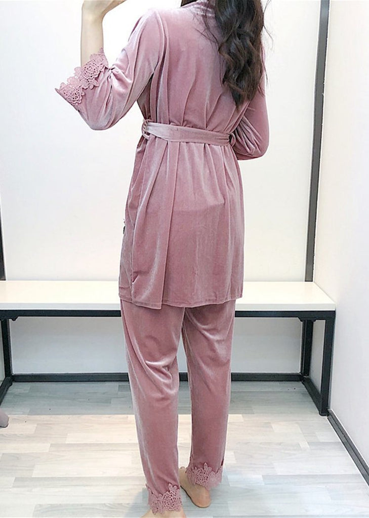 Womens Solid Pleuche Long Sleeve Pajamas Lace Trim 3 Pieces Sleepwear Sets/Free Shipping