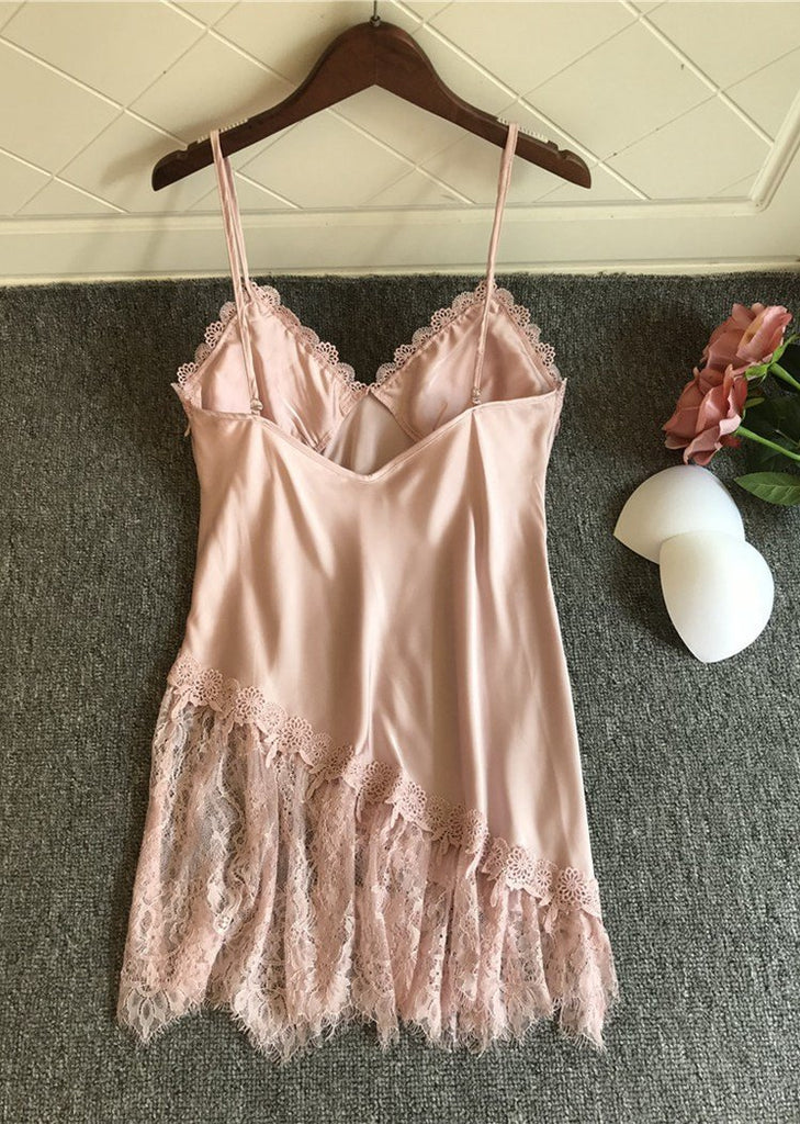 Solid Lace Trim Satin V Neck Spaghetti Straps One Piece Night Dress/Free Shipping