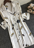 Glasses Pattern Long Sleeve Nightshirt Satin Sleep shirt Button Front Night Dress/Free Shipping