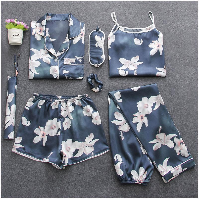 Women's Lily Flower Printing 7pcs Satin Sleepwear Set Cami Pjs with Shirt and Eye Mask/Free Shipping