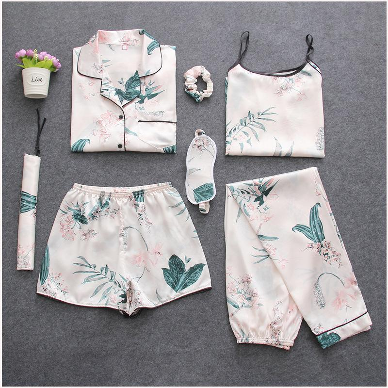 Women's Tropical Leaves Printing 7pcs Satin Sleepwear Set Cami Pjs with Shirt and Eye Mask/Free Shipping