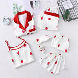 Women's White Strawberry Printing 7pcs Satin Sleepwear Set Cami Pjs with Shirt and Eye Mask/Free Shipping