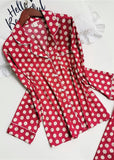 Red Polka Dot Printed Satin Long Sleeve Button Down PJ Set Sleepwear Set 2 Pieces/Free Shipping