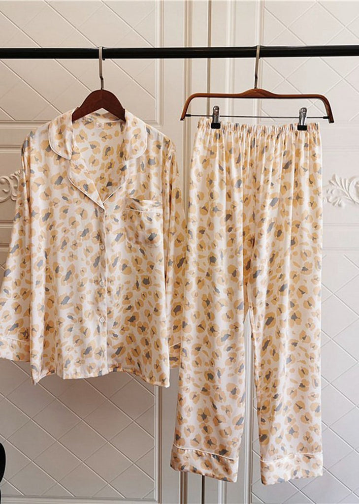 Leopard Printing Satin Long Sleeve Button Down Sleepwear Set 2 Pieces For Women/Free Shipping