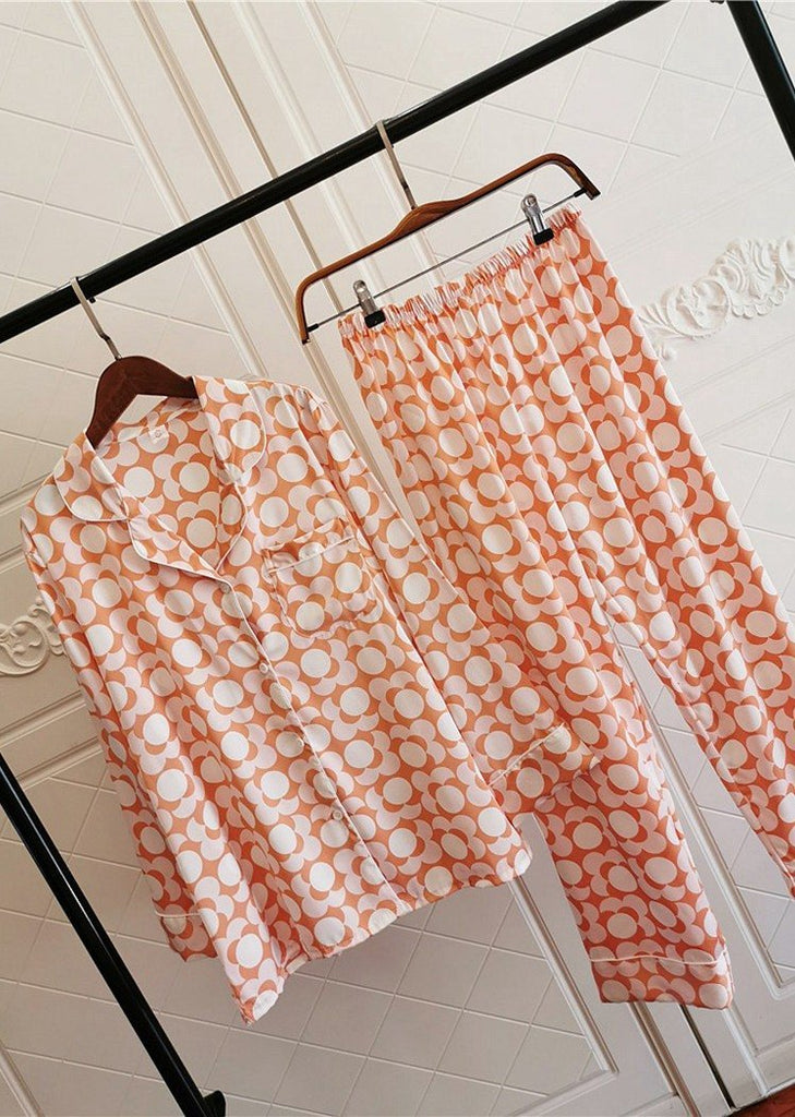 Petal Printing Satin Long Sleeve Button Down Sleepwear Set 2 Pieces For Women/Free Shipping