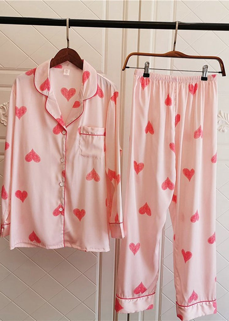Love Heart Printing Satin Long Sleeve Button Down Sleepwear Set 2 Pieces For Women/Free Shipping