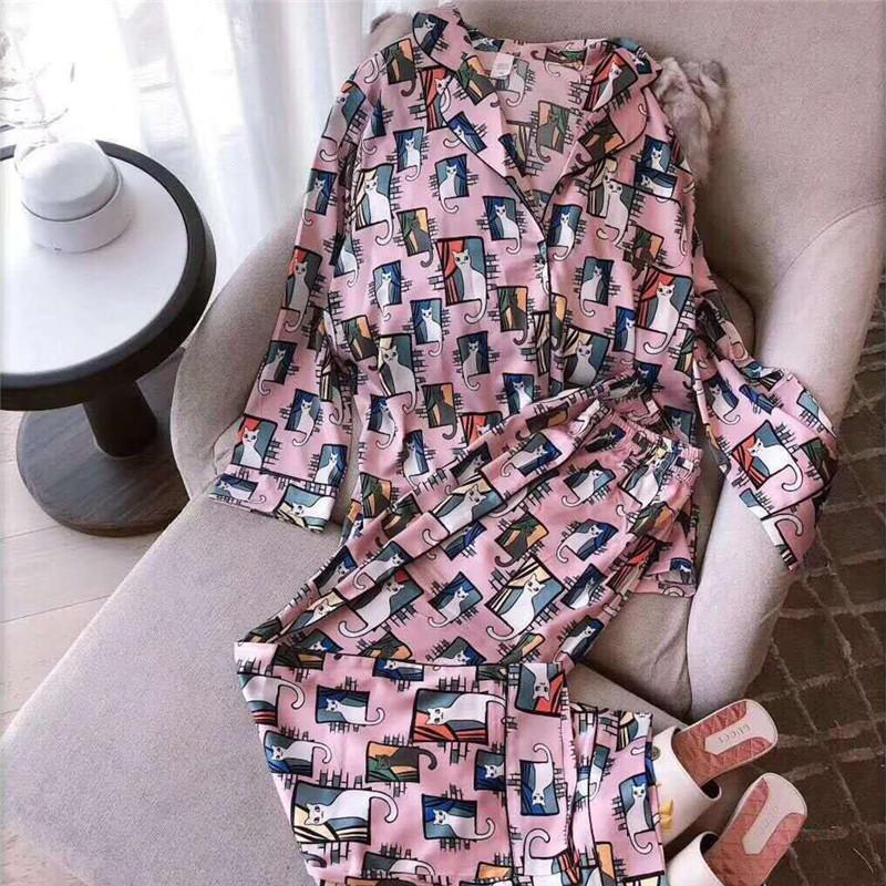 Women's Long Sleeve Cute Cats Printed Button Sleepwear Set 2/Free Shipping